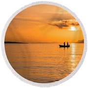 Sunset Over The Sea With Fishing Boat Round Beach Towel by Lana Enderle