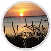 Sunset Over The Sound  Round Beach Towel