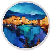 Round Beach Towel featuring the painting Sunset Over The Village 3 By Elise Palmigiani by Elise Palmigiani