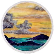Sunset Over The Virgin Islands Round Beach Towel