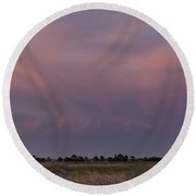 Sunset Over The Wetlands Round Beach Towel