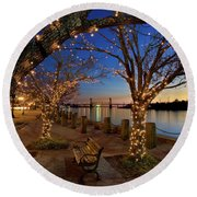 Sunset Over The Wilmington Waterfront In North Carolina, Usa Round Beach Towel