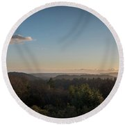 Sunset Over Top Of Dense Forest Round Beach Towel