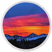 Sunset Over Torreys And Grays Peaks Round Beach Towel