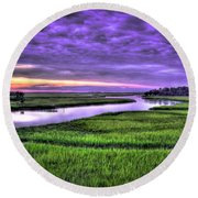 Sunset Over Turners Creek Savannah Tybee Island Ga Round Beach Towel