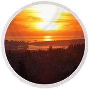Sunset Over Vancouver Round Beach Towel