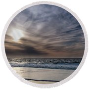 Sunset Over West Coast Beach With Silk Clouds In The Sky Round Beach Towel