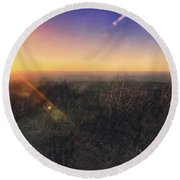 Round Beach Towel featuring the photograph Sunset Over Wisconsin Treetops At Lapham Peak  by Jennifer Rondinelli Reilly - Fine Art Photography