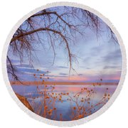 Round Beach Towel featuring the photograph Sunset Overhang by Darren White