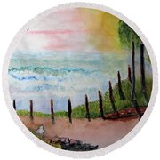 Sunset Overlook Round Beach Towel