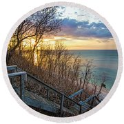 Sunset Overlooking Long Island Sound Round Beach Towel