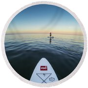 Round Beach Towel featuring the photograph Sunset Paddle Boarding by Will Gudgeon