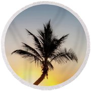 Sunset Palm Round Beach Towel by Az Jackson