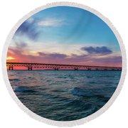 Sunset Panorama At Mackinac Bridge Round Beach Towel