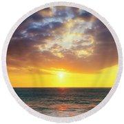 Sunset Panorama Round Beach Towel