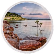 Sunset Panorama Of Canyon Lake East Shore New Braunfels Guadalupe River Texas Hill Country Round Beach Towel