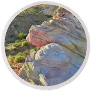 Sunset Pastels In Valley Of Fire Round Beach Towel