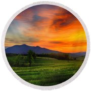Sunset Pasture Round Beach Towel
