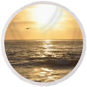 Sunset Pelican Silhouette Round Beach Towel