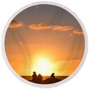 Sunset People In Imperial Beach Round Beach Towel