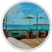 Sunset Pier Tiki Bar - Key West Florida Round Beach Towel