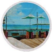 Sunset Pier Tiki Bar - Key West Florida Round Beach Towel