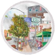 Sunset Plaza, Sunset Blvd., And Londonderry, West Hollywood, California Round Beach Towel