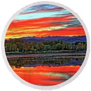 Round Beach Towel featuring the photograph Sunset Ponds by Scott Mahon