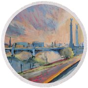 Sunset Pont Fragnee Round Beach Towel