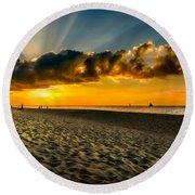 Sunset Puka Beach Round Beach Towel