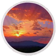 Sunset Rays At Smith Mountain Lake Round Beach Towel