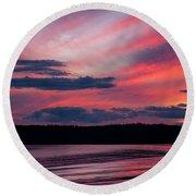 Sunset Red Lake Round Beach Towel