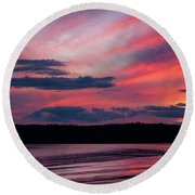 Sunset Red Lake Round Beach Towel