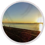Sunset Reflecting On The Uruguay River Round Beach Towel