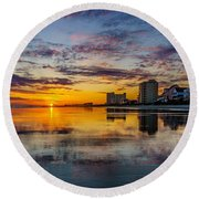 Sunset Reflection Round Beach Towel by David Smith