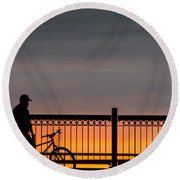Sunset Reflection Round Beach Towel by Mike Ste Marie