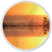 Sunset Reflection Round Beach Towel by Sheila Ping