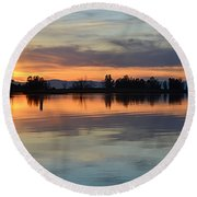 Sunset Reflections Round Beach Towel by AJ Schibig