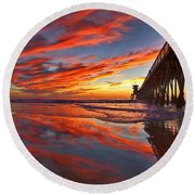 Sunset Reflections At The Imperial Beach Pier Round Beach Towel