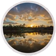 Sunset Reflections Round Beach Towel by Linda Unger