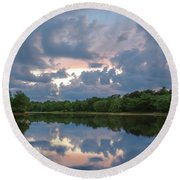 Round Beach Towel featuring the photograph Sunset Reflections by Lori Coleman