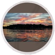 Round Beach Towel featuring the photograph Sunset Reflections by Nikki McInnes
