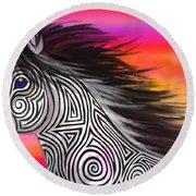 Sunset Ride Tribal Horse Round Beach Towel