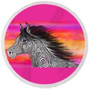 Round Beach Towel featuring the painting Sunset Ride Tribal Horse by Nick Gustafson