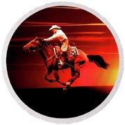 Sunset Rider Round Beach Towel