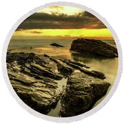 Sunset Rocks Round Beach Towel