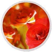 Sunset Rose Round Beach Towel by Gabriella Weninger - David