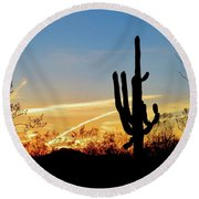 Sunset Saguaro In The Spring Round Beach Towel