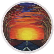 Treetop Sunset River Sail Round Beach Towel
