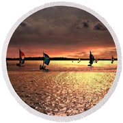 Sunset Sail - Bermuda Round Beach Towel by Judy Palkimas
